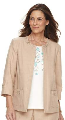 Alfred Dunner Women's Studio Embellished Open-Front Jacket