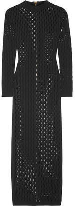 Perforated Stretch-knit Maxi Dress - Black