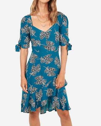 Express Floral Print Tie Sleeve Ruffle Wrap Fit And Flare Dress