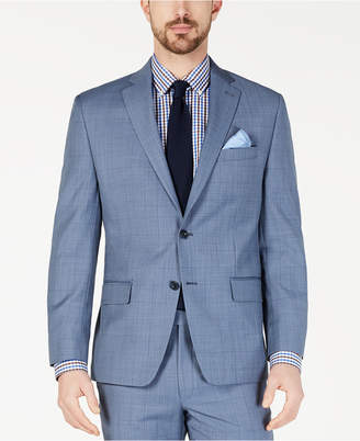 10c4fc3afbe5c Michael Kors Men s Classic-Fit Airsoft Stretch Light Blue Windowpane Suit  Jacket