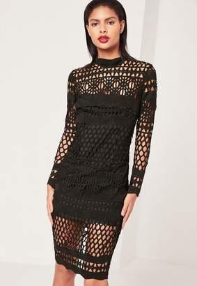 Missguided Black Lace High Neck Midi Dress