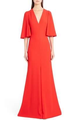 Alexander McQueen Cape Sleeve Satin Crepe Gown