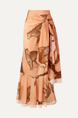 Johanna Ortiz Tropical Agitations Wrap-effect Ruffled Printed Cotton-voile Maxi Skirt - Peach