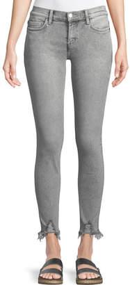 Current/Elliott The Stiletto Skinny-Leg Stone-Washed Jeans w/ Distressed Hem