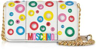 Moschino Leather Multicolor Eyelets Shoulder Bag