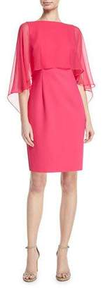 Rickie Freeman For Teri Jon Silk Chiffon Cape-Sleeve Cocktail Dress