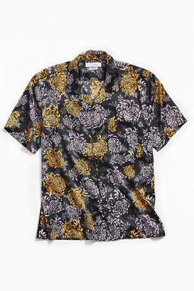 Urban Outfitters Liam Floral Satin Short Sleeve Button-Down Shirt