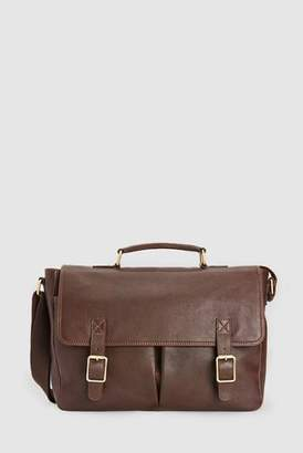 Mens Brown Signature Leather Twin Pocket Briefcase