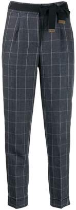 Peserico check slim trousers