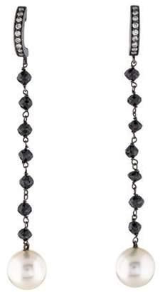18K Pearl & Diamond Drop Earrings Black 18K Pearl & Diamond Drop Earrings