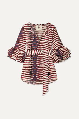 Figue Reina Ruffled Printed Cotton-poplin Top - Red