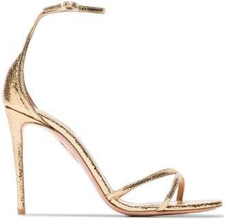 Aquazzura gold Purist 105 metallic leather sandals