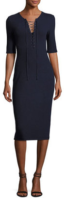 Derek Lam 10 Crosby Laced Ponte Midi Dress, Navy $295 thestylecure.com
