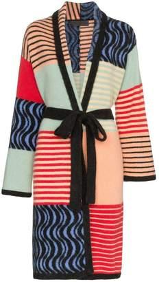 The Elder Statesman panelled belted cashmere coat
