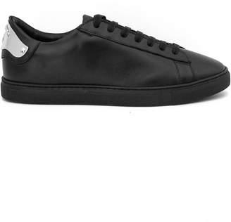 DSQUARED2 Black Calfskin Tennis Sneaker.