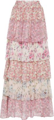 LoveShackFancy Carmen Tiered Floral-Print Silk Maxi Skirt