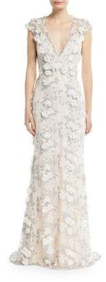 Badgley Mischka Floral 3D Lace V-Neck Gown