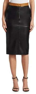 Victoria Beckham Leather Contrast Pencil Skirt