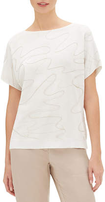 Lafayette 148 New York Relaxed Dolman-Sleeve Double Jacquard Sweater