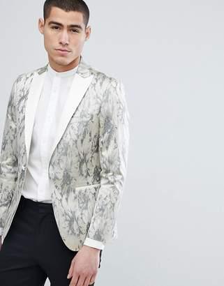 Moss Bros Skinny Tuxedo Jacket In Jacqaurd