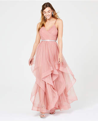 Sequin Hearts Juniors' Rhinestone-Belted Layered Gown