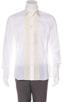 Alexander McQueen Embroidered Silk-Blend French Cuff Shirt w/ Tags