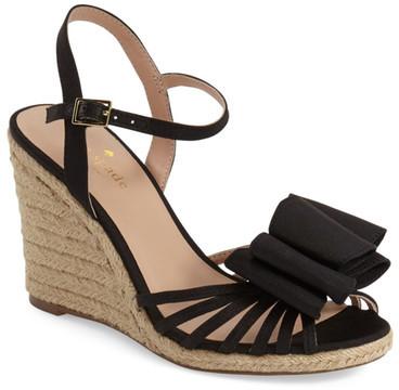 Kate Spadekate spade new york &biana& grosgrain bow wedge sandal (Women)
