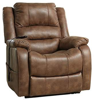 Signature Design by Ashley Ashley Furniture Signature Design - Yandel Power Lift Recliner - Contemporary Reclining - Faux Leather Upholstery - Saddle