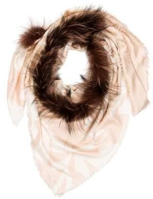 Fendi Silk-Wool Fur-Trimmed Zucca Scarf