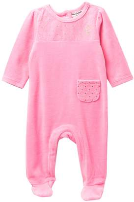 Juicy Couture Diamond Quilted Velour Footie (Baby Girls)