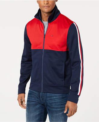 Tommy Hilfiger Men's Racer Colorblocked Full-Zip Mock-Collar Sweatshirt