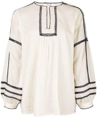 Sea blouse with stitching panels