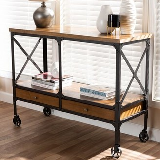 Williston Forge Aleman Vintage Rustic Industrial Console Table Williston Forge