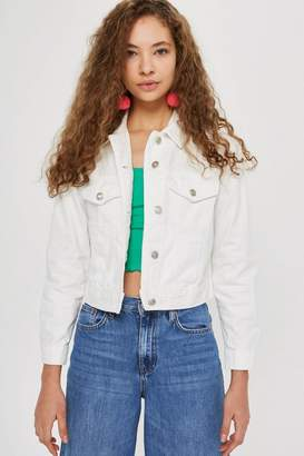 Topshop White Fitted Denim Jacket