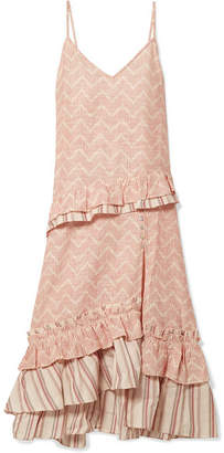 Lemlem Imani Ruffled Embroidered Cotton And Silk-blend Gauze Midi Dress - Ecru