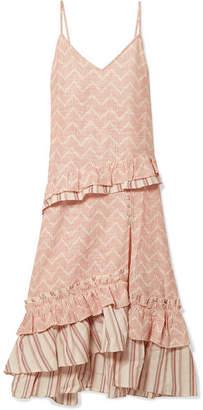 Lemlem Imani Ruffled Embroidered Cotton And Silk-blend Gauze Midi Dress - Ecru