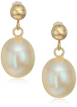 Bella Pearl 14k Yellow Gold Ball with Freshwater Pearls Drop Earrings