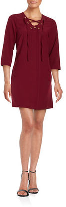 Kensie Waffle Patterned Lace-Up Shift Dress $89 thestylecure.com