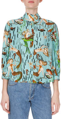 Loewe 3/4-Sleeve Mock-Neck Button-Down Mermaid-Print Blouse