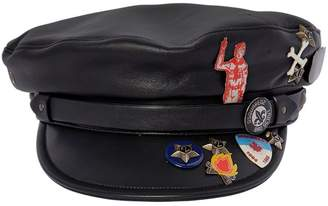 DSQUARED2 Leather Biker Hat W/ Pins