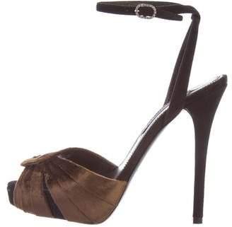 Ralph Lauren Velvet Ankle Strap Sandals