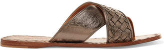 Bottega Veneta Metallic Intrecciato Textured-leather Slides - Anthracite