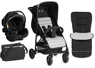 Hauck Rapid 4 Plus Shop N Drive Set Quick Fold Travel System, from Birth to 22 Kg, Black/Silver (Group 0+ Car Seat, Compatible with Optional ISOFix Base, Foot muff, Changing Bag and Raincover)