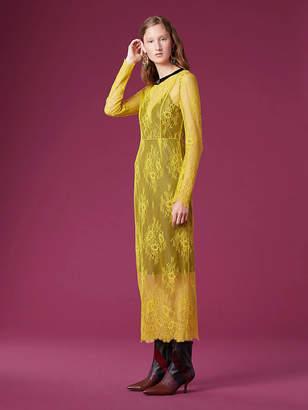 Diane von Furstenberg Long-Sleeve Crew Neck Lace Dress
