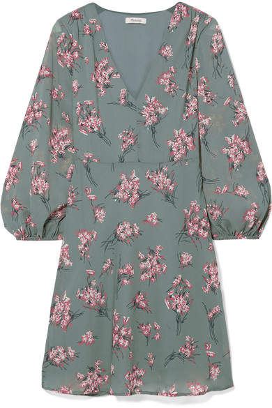 Madewell - Tiered Floral-print Voile Mini Dress - Green
