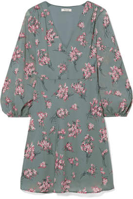 Madewell Tiered Floral-print Voile Mini Dress - Green