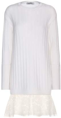 Valentino Lace-trimmed virgin wool and cashmere sweater dress