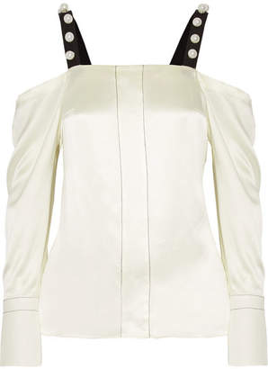 3.1 Phillip Lim Cold-shoulder Faux Pearl-embellished Silk-satin Blouse - Cream