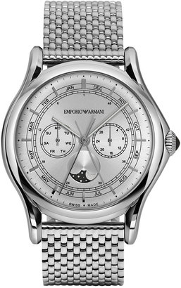 Emporio Armani Men's Swiss Moon Phase Stainless Steel Bracelet Watch 44mm ARS4201 $945 thestylecure.com