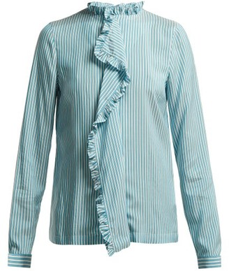 Etro Jeanette Ruffled Silk Blouse - Womens - Blue White